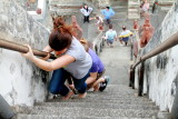 Climbing the steep steps, Wat Arun, Temple of Dawn