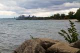 Lake Michigan and Chicago from Elliot Park, Evanston, Illinois