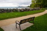 View of Chicago, bench, Elliot Park, Evanston, Illinois