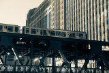 Loop train, Chicago, IL, Black and White