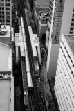 Loop Train, MDA City Apartments, Open House Chicago, 2014, Black and White