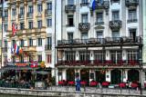 Cafe, Reuss River, Lucerne, Switzerland