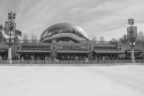 Cloud Gate, Chicago, St. Patrick's Day, 2015, Black and White
