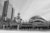 Cloud Gate and BCBS building, Chicago, St. Patrick's Day, 2015, Black and White