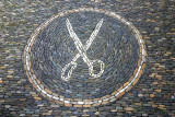 Mosaic to mark the house of a tailor, scissors, Freiburg im Breisgau, Black Forest, Germany