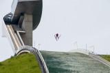 Ski jumper in action, Bergisel Ski Jump, Innsbruck, Austria