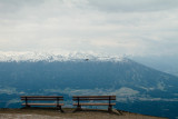 Benches, View of Innsbruck from Hafelekarspitze, mountain peak, Austria