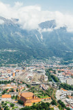 Hopbahnhof, railway station, View of Innsbruck, from Bergisel Ski Jump, Austria
