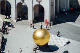 Kapitelplatz, Man on Ball, Stephan Balkenhol, View of Salzburg, from Salzburg castle, Austria