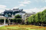 Fortress Hohensalzburg, from Mirabell gardens, Salzburg, Austria