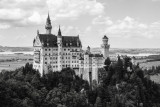 B&W, Neuschwanstein Castle, view from Marienbrucke,  Bavaria, Germany