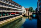 Pegnitz, Fleischbrucke, Nuremberg, Bavaria, Germany