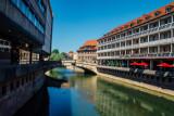 Pegnitz river, Museumbrucke, Nuremberg, Bavaria, Germany