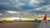 Munich airport, sunset