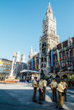 The New Town Hall, Marienplatz, German Police, Munich, Bavaria, Germany