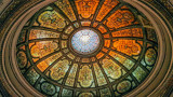 Healy and Millet stained glass dome in the Grand Army of the Republic rotunda at the Chicago Cultural Center, Chicago, Illinois