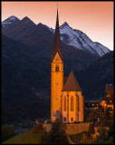 Heiligenblut church with Grossglockner (3798 m) at dusk