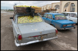 Apple transportation with old russian cars
