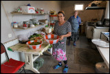 Women working in a café at Besh Barmaq