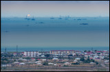Qobustan city with Caspian oilfield in the background