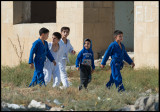 Young kids walking to the Judo training camp in Qobustan