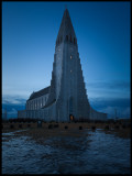 Hallgrims church in Reykjavik at dawn