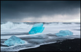 Fantastic ice formations (and heavy rainfall) at the beach close to Jökulsarlon - Iceland