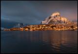 Reine Lofoten in midwinter light (Panorama 3 shots)