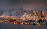 Low winter light over Reine in Lofoten (HDR)