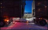 The big truck loading reindeer for winter transportation - Rensjön
