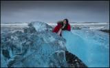 Korean girl on Jökulsarlon ice beach - Iceland