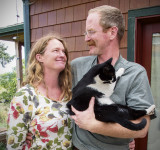 Karen and Tad and Slimmer-the Cat