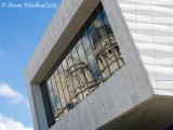 Reflections in the glass of the Museum of Liverpool Building