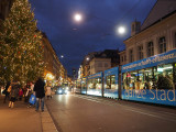 The blue tram at Christmas