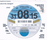 The last UK tax disk issued, ever. Maybe ;-) Got it in the post on 29/9 to display until 30/9. From 1/10/2014 it is not required