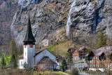 Church and waterfall, Lauterbrunnen