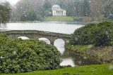Bridge and temple in the snow ~ Stourhead (2139)