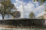 Two buildings through a fountain (2)
