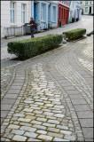 Twisting cobblestone road.....