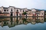 A moon-shaped lake at the heart of  Hongcun