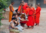 Buddhist monks on their early morning rounds, gathering alms