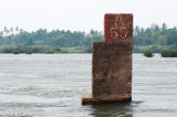 French channel markers in the river