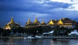 Grand Palace at dusk, from mid-river