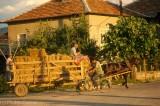 Hay wagon passing through a village