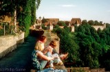 Hostellers on the city walls of Rothenburg ob Tauber, Germany