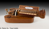 A 16th. Century, Baroni Hurdy Gurdy with cover open.