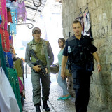 Soldier and Security Guy in the Bazaar