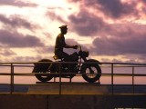 Pedro Infante Motorcycle Statue Sunset