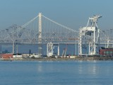 Port of Oakland, New and Old Bay Bridges