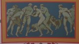Painting of naked men playing American football